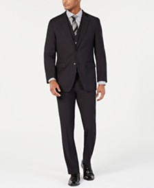 Perry Ellis Men's Portfolio Slim-Fit Stretch Black Solid Suit Separates