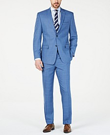 by Andrew Marc Men's Modern-Fit Stretch Blue Glen Plaid Suit
