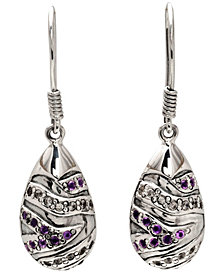 Asian Tiger Signature Sterling Silver Earrings embellished by Amethyst and White Cubic Zirconia