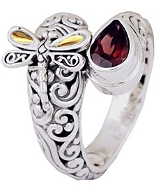Sweet Dragonfly Classic Sterling Silver Ring embellished by 18K Gold Accents on 4 strips of Dragonfly's Wings and Garnet