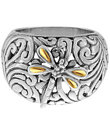 Sweet Dragonfly Classic Sterling Silver Ring embellished by 18K Gold Accents on 4 strips of Dragonfly's Wings