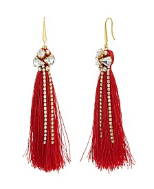 Catherine Malandrino Women's White Rhinestone Yellow Gold-Tone Red Tassel Earrings