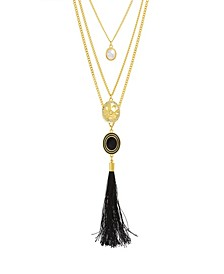 Women's Simulated White Pearl And Rhinestone Hammered Disc Yellow Gold-Tone Black Tassel Chain Necklace