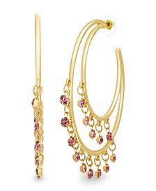Catherine Malandrino Women's Pink Rhinestone Double Layered Yellow Gold-Tone Open Hoop Earrings