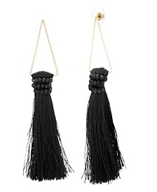 Catherine Malandrino Women's White Rhinestone Black Dangling Yellow Gold-Tone Gray Tassel Earrings