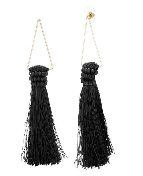 Catherine Malandrino Women's White Rhinestone Black Dangling Yellow Gold-Tone Gray Tassel Earrings