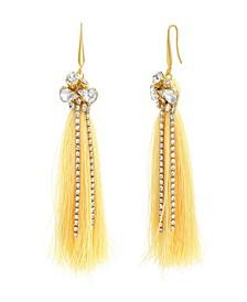 Women's Clustered White Rhinestone Yellow Gold-Tone Yellow Tassel Earrings