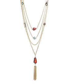 Women's Multicolored Geometric Rhinestone Yellow Gold-Tone Layered Rolo Chain Tassel Earrings