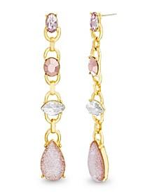 Women's Pink And White Rhinestone Yellow Gold-Tone Drop Earrings