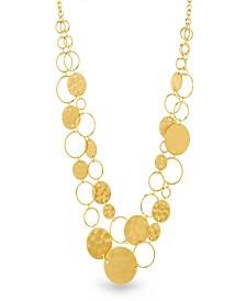 Catherine Malandrino Women's Graduated Circle Yellow Gold-Tone Chain Necklace