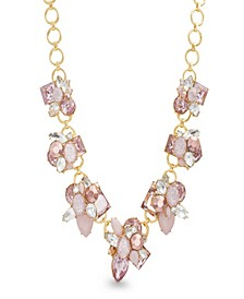 Women's Pink Rhinestone Yellow Gold-Tone Cluster Style Necklace