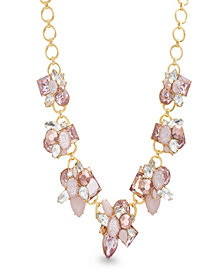Catherine Malandrino Women's Pink Rhinestone Yellow Gold-Tone Cluster Style Necklace
