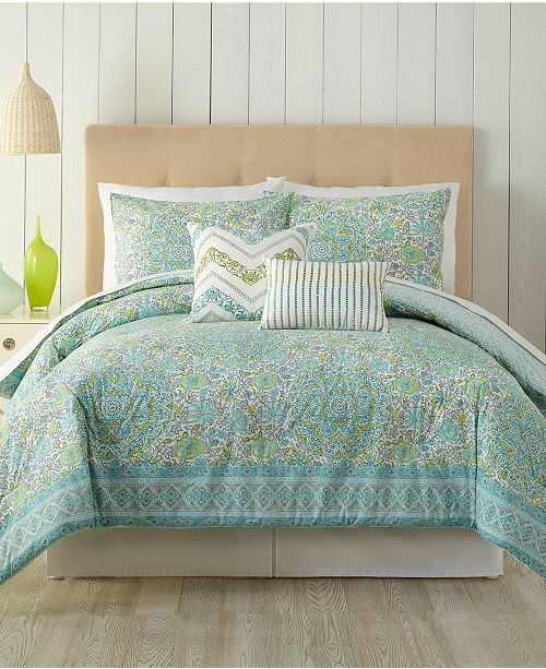 Peking Indigo Bazaar Stamped Indian Floral King Comforter Set - 5 Piece