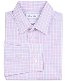 Calvin Klein Big Boys Slim-Fit Stretch Plaid Dress Shirt