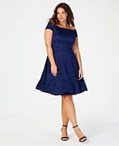 dd12acccbd5f B Darlin Trendy Plus Size Off-The-Shoulder Lace Dress