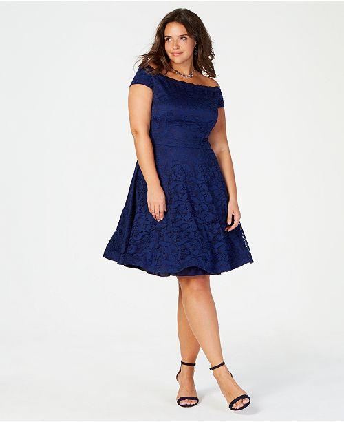 B Darlin Trendy Plus Size Off-The-Shoulder Lace Dress