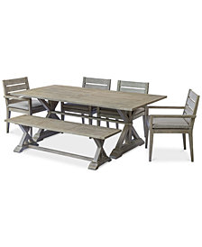 "Hadley Outdoor 6-Pc. Dining Set (84"" x 42"" Dining Farm Table, 4 Arm Chairs & 1 Bench) with Sunbrella® Cushions, Created For Macy's"