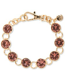 DKNY Gold-Tone Link & Crystal Flex Bracelet, Created for Macy's
