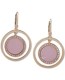 DKNY Pavé & Stone Orbital Medium Drop Earrings, Created for Macy's