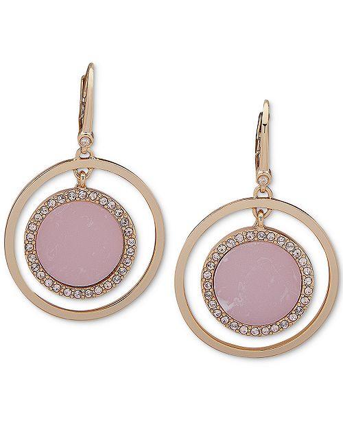 DKNY Pavé & Stone Orbital Medium Drop Earrings, Created for Macy's