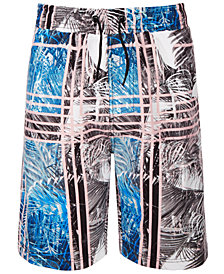 Ideology Big Boys Palm-Print Swim Trunks, Created for Macy's