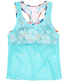 Big Girls Layered-Look Mesh Tankini Swim Top, Created for Macy's