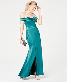 Juniors' Satin Off-The-Shoulder Gown