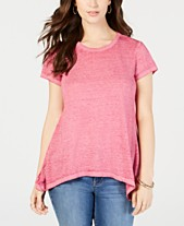 98976a11 Style & Co Burnout Handkerchief-Hem T-Shirt, Created for Macy's