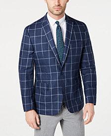 Ryan Seacrest Distinction™ Men's Modern-Fit Linen Navy and White Windowpane Sport Coat, Created for Macy's