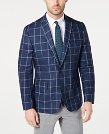 Ryan Seacrest Distinction™ Men's Modern-Fit Linen Navy and White Windowpane Sport Coat, Created for Macy's