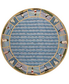 """KAS Colonial Lighthouse Waves 1802 Blue 7'6"""" Round Area Rug"""