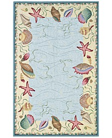 CLOSEOUT! Colonial Ocean Surprise 1804 Blue/Ivory 2' x 8' Runner Area Rug