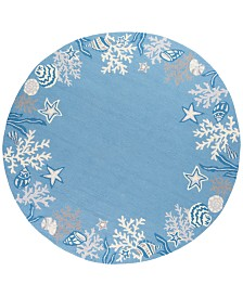"KAS Sonesta Coastal 2024 Sea Blue 7'6"" Round Area Rug"