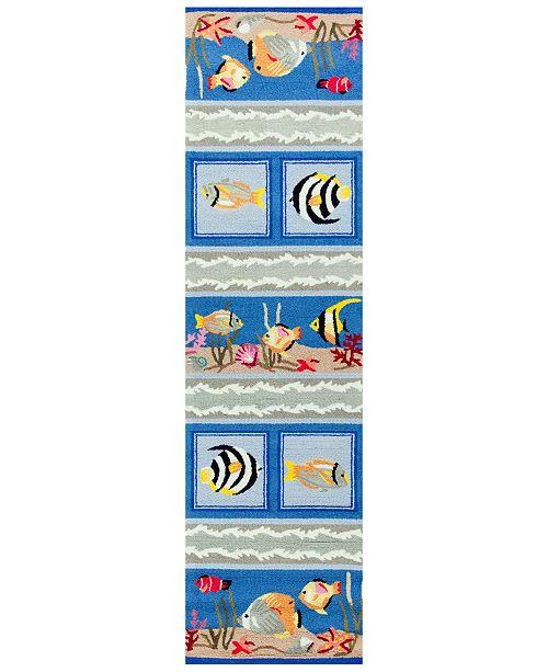 "Kas CLOSEOUT! Sonesta Sea Views 2004 Blue 2' x 7'6"" Runner Area Rug"