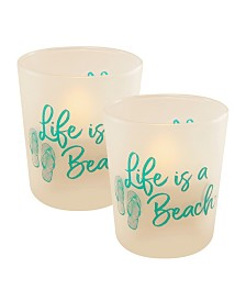 Lumabase Set of 2 Life Is A Beach Flickering LED Candles