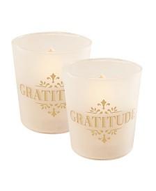 Lumabase Set of 2 Gold Gratitude Flickering LED Candles