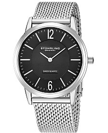 Stuhrling Original Stainless Steel Case on Mesh Bracelet, Black Dial, With Silver Accents