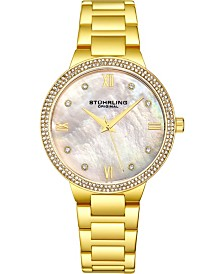 Stuhrling Original Women's Gold-Tone Case and Bracelet, White Mop Dial Watch