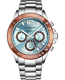 Original Men's Chrono, Light Blue Dial, Brown Bezel/Silver Case, Silver Bracelet Watch
