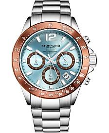 Stuhrling Original Men's Chrono, Light Blue Dial, Brown Bezel/Silver Case, Silver Bracelet Watch