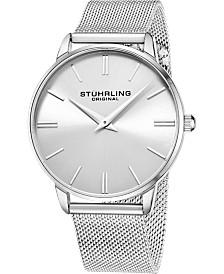 Stuhrling Original Men's Silver Dial, Silver Accents, Silver Mesh Bracelet Watch