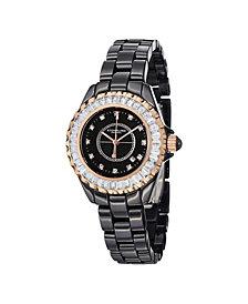 Stuhrling Original Black Ceramic Case on Link Bracelet Swarovski Crystal Studded Bezel Watch