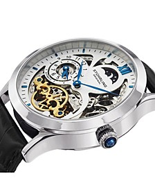 Original Stainless Steel Case on Black Alligator Embossed Genuine Leather Strap, White Skeletonized Dial, With Blue, Gold Tone, and Black Accents