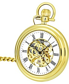 Original Stainless Steel Gold Tone Pocket Watch on Gold Tone Chain, White Dial, With Black Accents