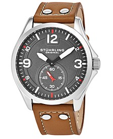 Original Men's Quartz, Silver Case, Grey Dial Watch on A Light Brown Genuine Leather Strap With White Contrast Stitching