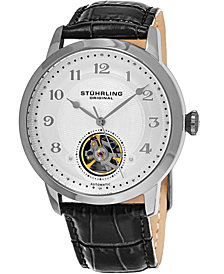 Stuhrling Original Men's Automatic Open Heart Leather Strap Watch