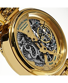 Stuhrling Original Men's Automatic, Gold  Skeleton Dial, Gold  Case, Gold  Stainless Steel Bracelet