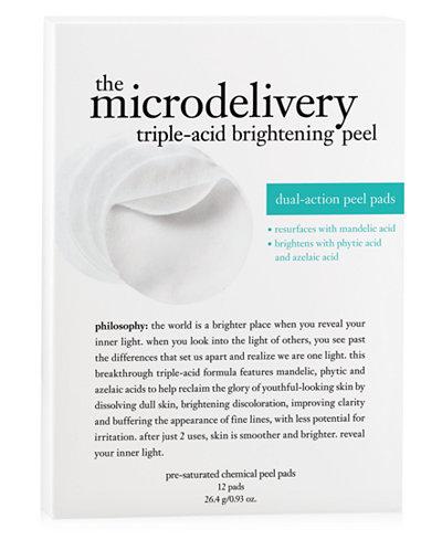 philosophy microdelivery triple-acid brightening peel, 12 pads