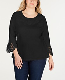 Charter Club Plus Size Cotton Lace-Trim Top, Created for Macy's