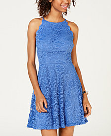 BCX Juniors' Lace Fit & Flare Dress